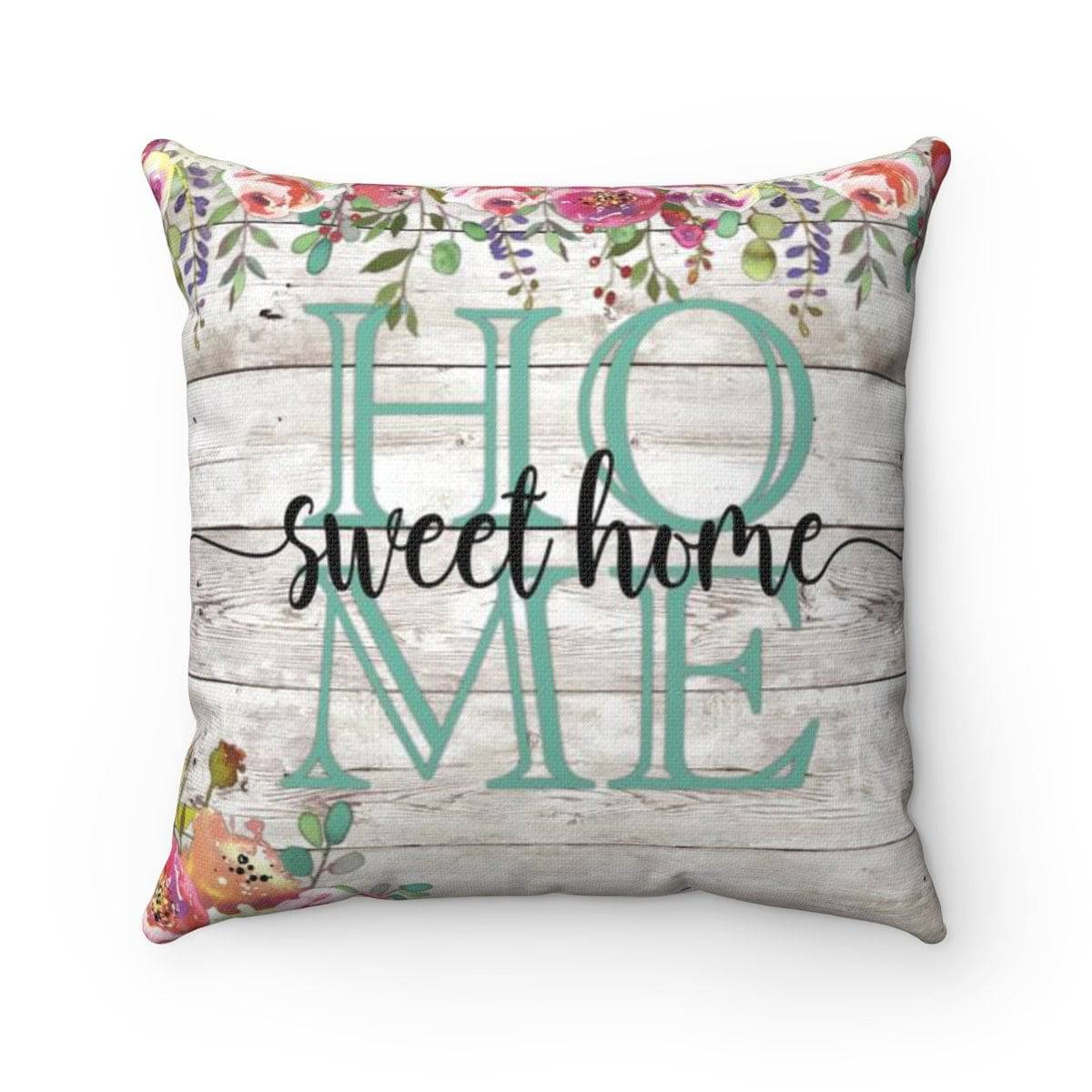 Home Sweet Home Seafoam Square Pillow
