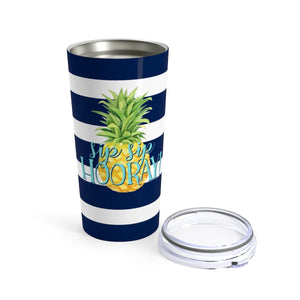 Navy Striped Pineapple Seafoam Sip Sip Hooray 20 oz Tumbler - My Treasured Gifts Co