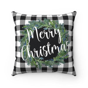 Black and White Buffalo Plaid Merry Christmas Pillow