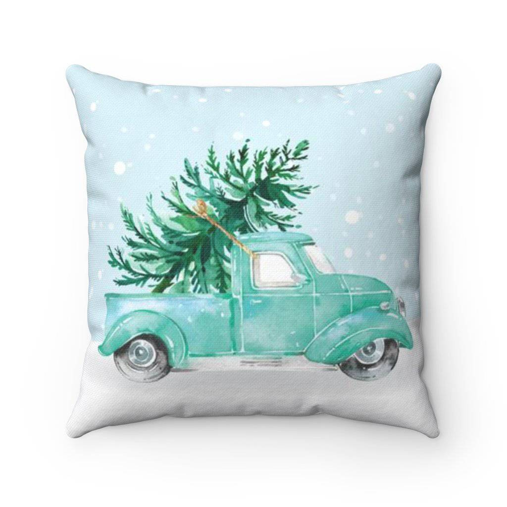 Teal Holiday Truck Pillow Case