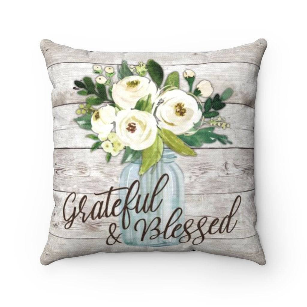 Rustic Navy Grateful and Blessed Pillow