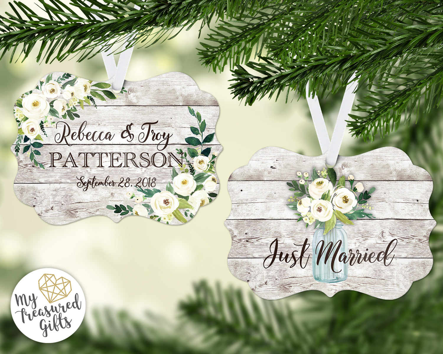 Rustic Just Married Wedding Ornament - My Treasured Gifts Co
