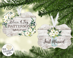 Rustic Just Married Wedding Ornament