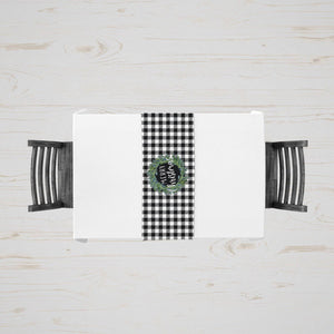 Black and White Plaid Christmas Table Runner - My Treasured Gifts Co
