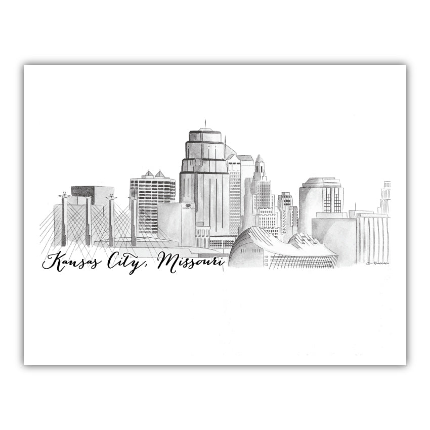 Kansas City Skyline Watercolor 15oz Mug