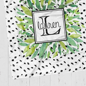 Modern Wreath Polka Dot Blanket