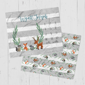Woodland Animal Baby Milestone Blanket