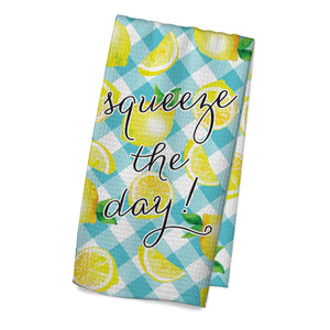 Squeeze the Day Blue Plaid Towel - My Treasured Gifts Co