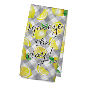 Squeeze the Day Gray Plaid Towel - My Treasured Gifts Co