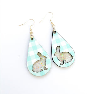 Plaid Easter Bunny Teardrop Earrings