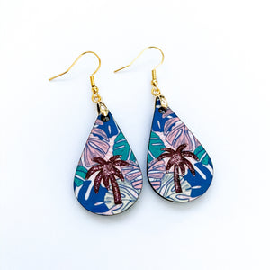 Tropical Pastels Palm Tree Teardrop Earrings - My Treasured Gifts Co