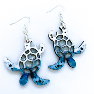 Watercolor Sea Turtle Earrings - My Treasured Gifts Co