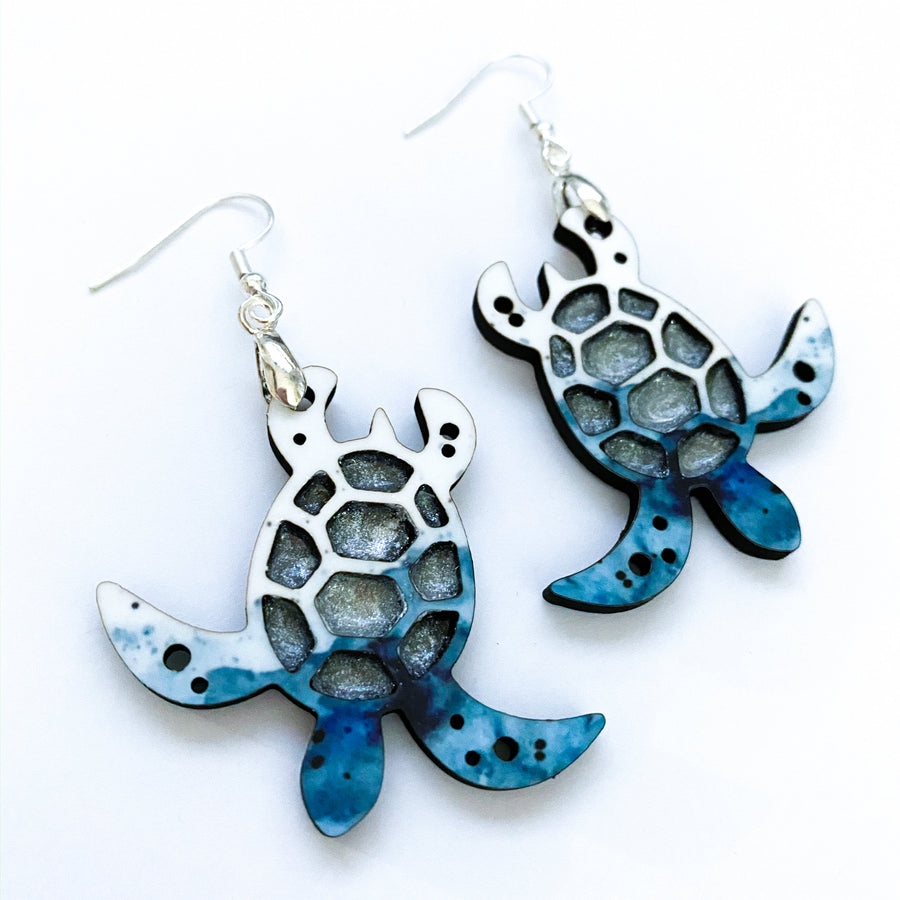 Watercolor Sea Turtle Earrings
