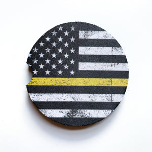Thin Yellow Line Car Coasters