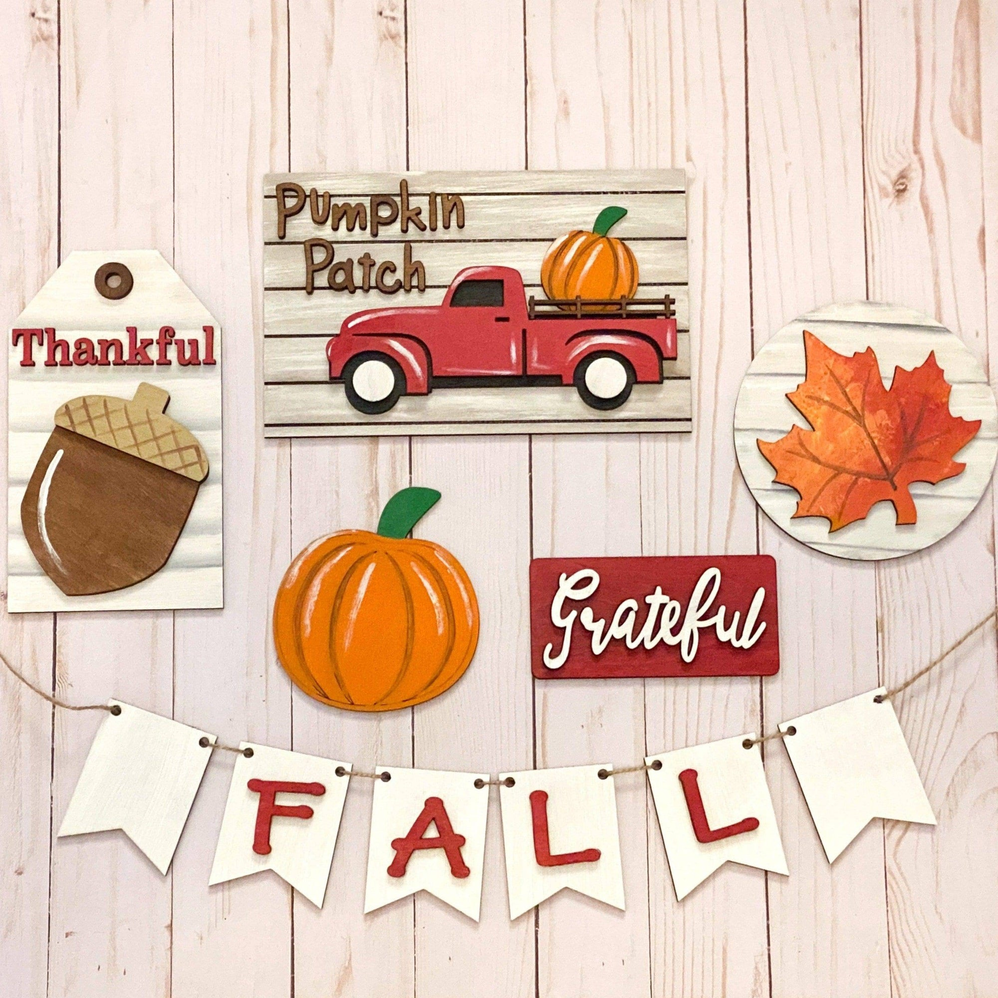 Red Truck Fall Tiered Tray Decor - My Treasured Gifts Co