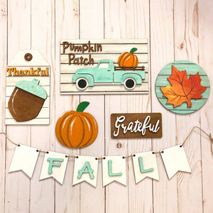 Teal Truck Fall Tiered Tray Decor - My Treasured Gifts Co
