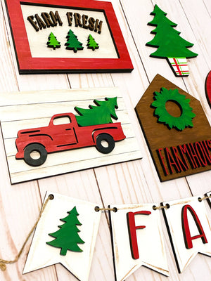 Vintage Red Truck Holiday Tiered Tray Set - My Treasured Gifts Co