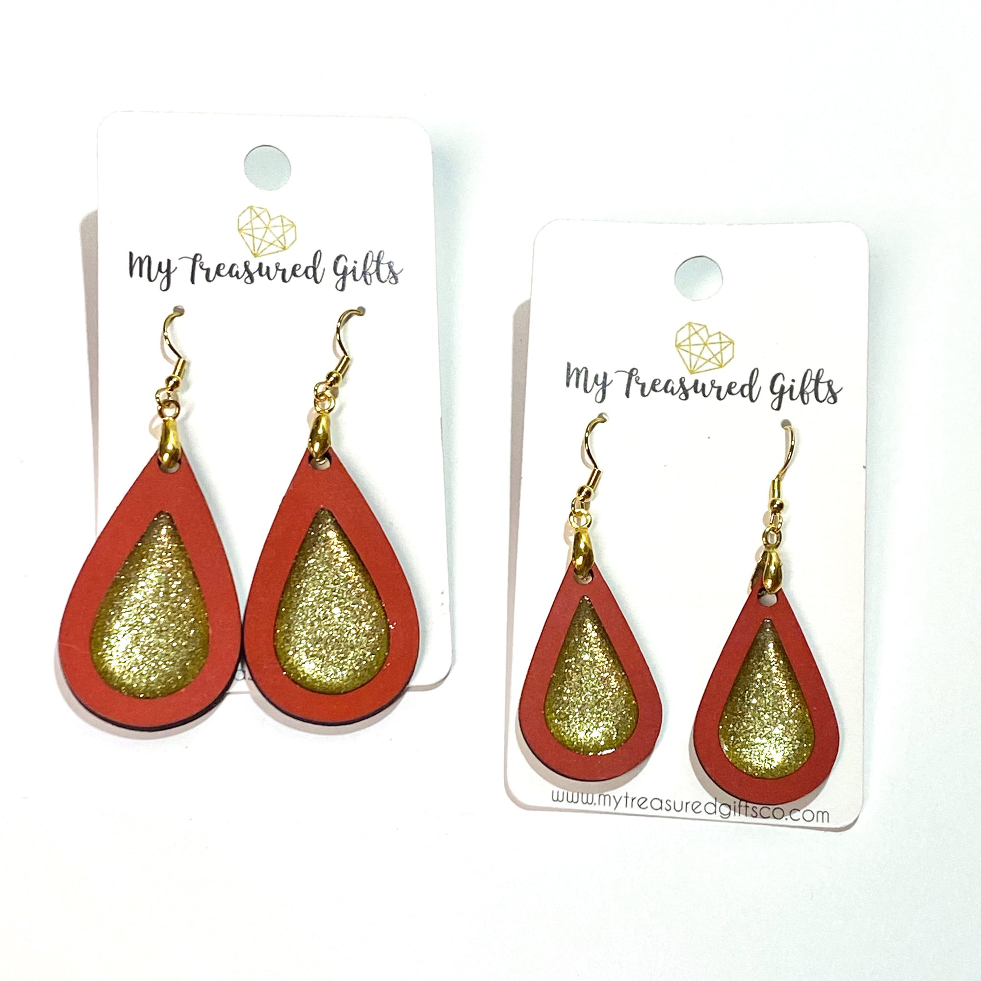 Red and Gold Teardrop Earrings
