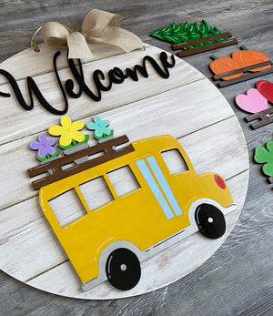 School Bus Sign with Interchangeable Beds - My Treasured Gifts Co