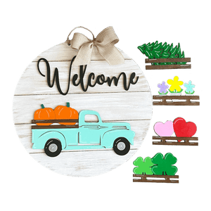 Interchangeable Vintage Truck Welcome Sign - My Treasured Gifts Co