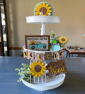 Sunflower Tiered Tray Set - My Treasured Gifts Co