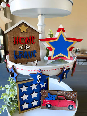 Patriotic Tiered Tray Set - My Treasured Gifts Co