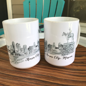 Scout with Kansas City Skyline Watercolor 15oz Mug - My Treasured Gifts Co
