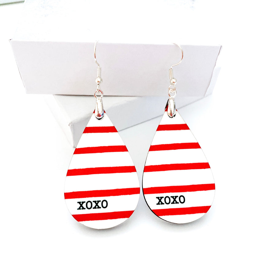 XOXO Red Striped Teardrop Earrings