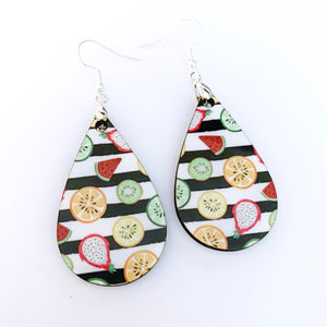 Tropical Fruit Teardrop Earrings