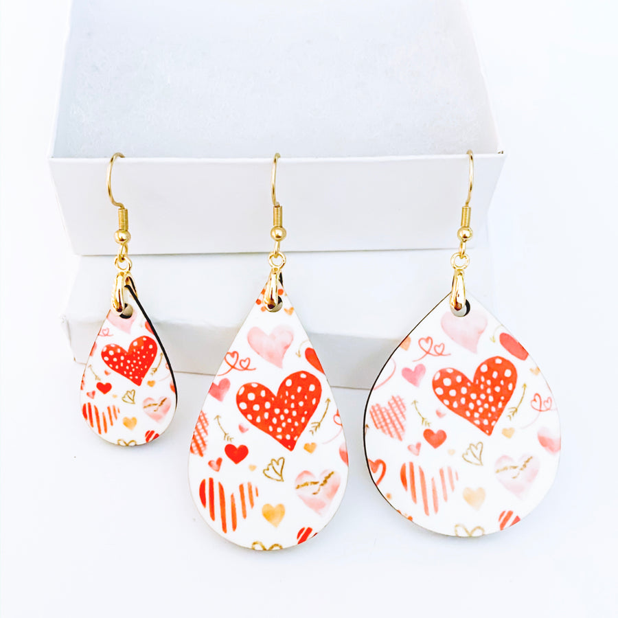 Sketchy Hearts Teardrop Earrings