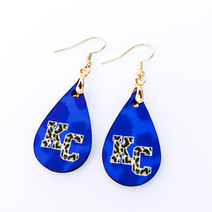 Royal Blue Leopard Print KC Teardrop Earrings