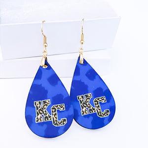 Royal Blue Leopard Print KC Teardrop Earrings - My Treasured Gifts Co