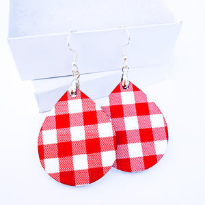 Red Plaid Teardrop Earrings