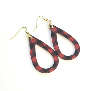 Red Plaid Open Teardrop Earrings