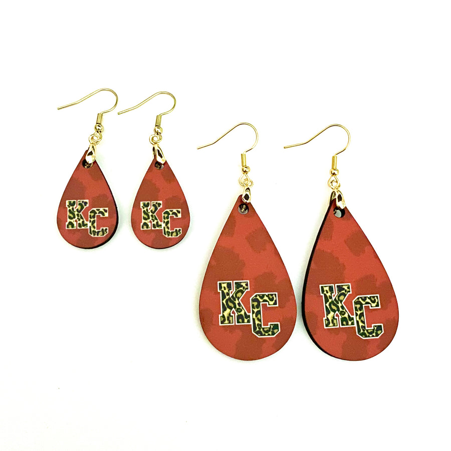 Red Leopard Print KC Teardrop Earrings