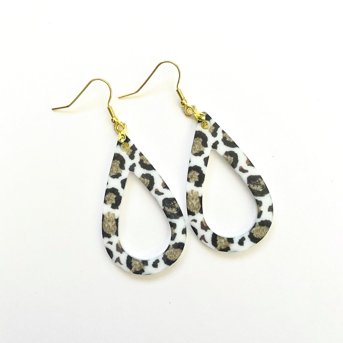 White Leopard Print Open Teardrop Earrings