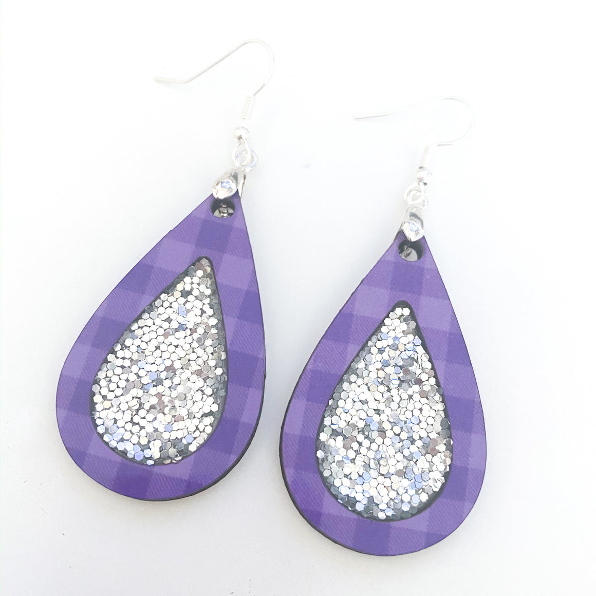 Purple and Silver Teardrop Earrings