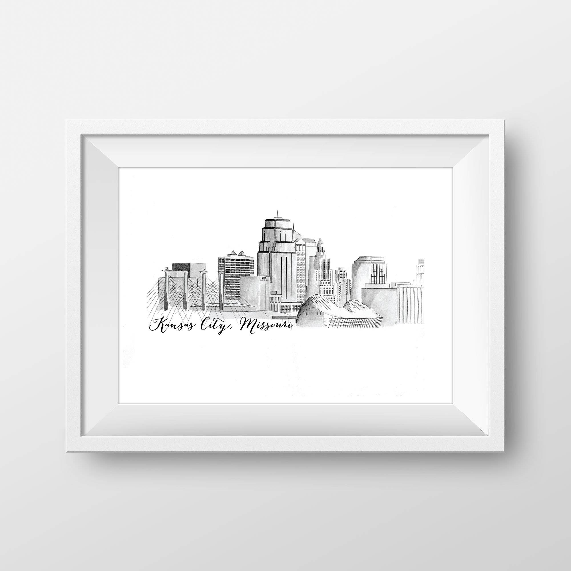 Kansas City Skyline Watercolor Art Print - My Treasured Gifts Co