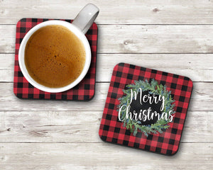 Buffalo Plaid Holiday Coaster Set