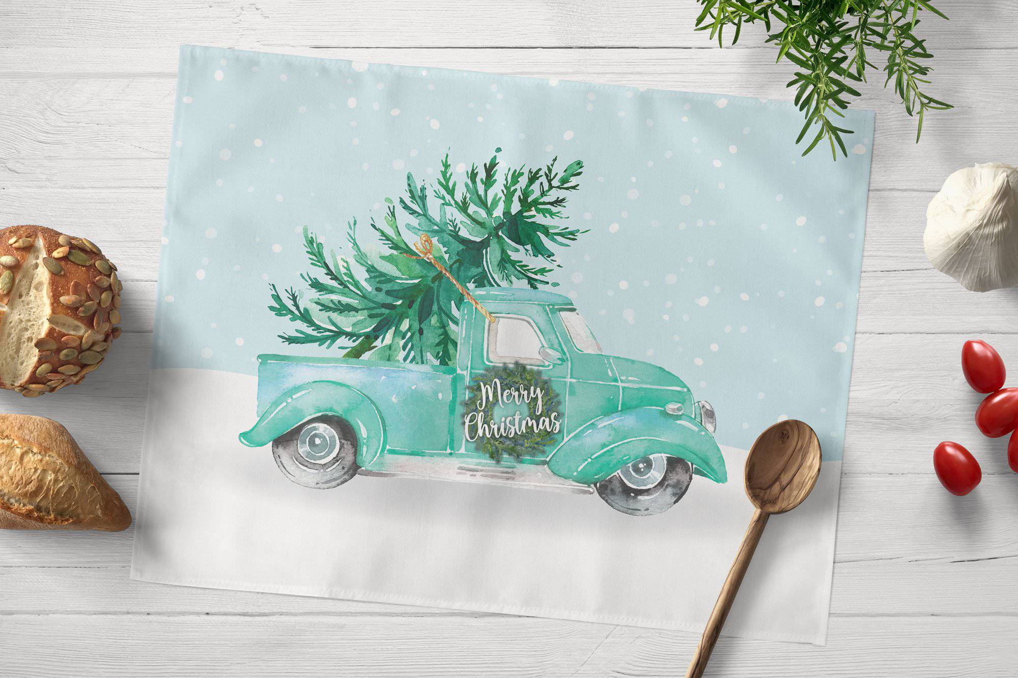 Teal Truck Christmas Placemat - My Treasured Gifts Co