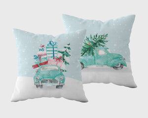 Blue Holiday Vintage Truck Outdoor Pillowcase