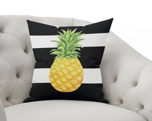 Pineapple Black Striped Outdoor Pillowcase