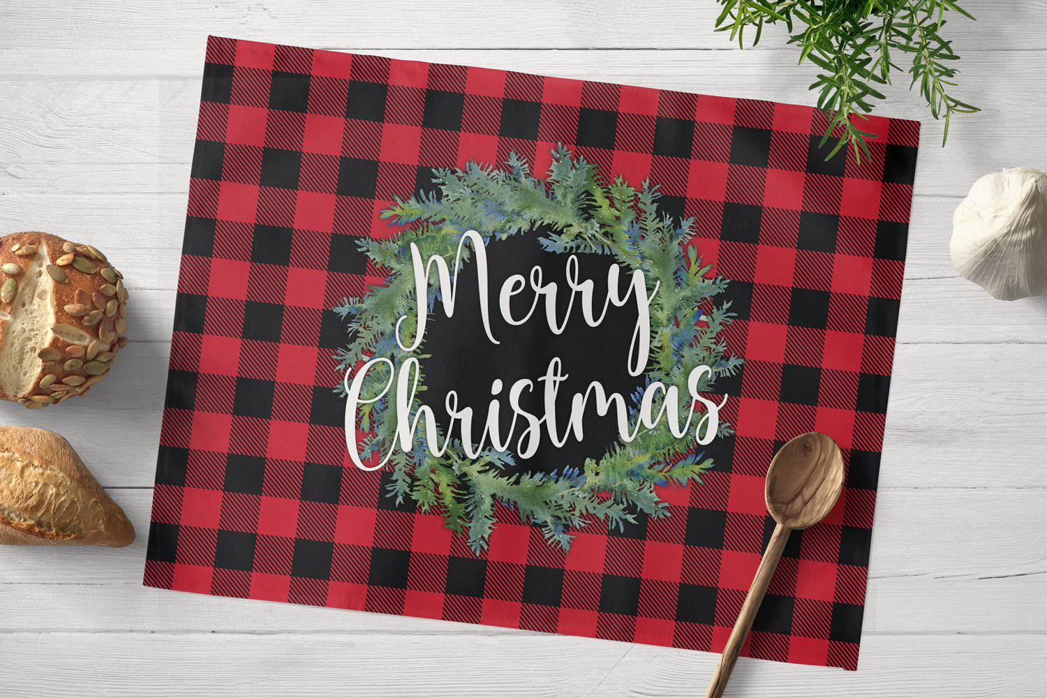 Red Buffalo Plaid Christmas Placemat - My Treasured Gifts Co
