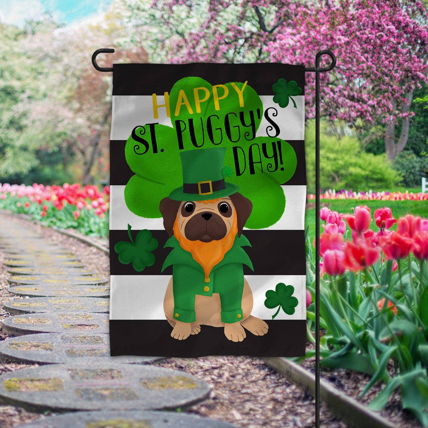 Pug St. Patrick's Day Flag