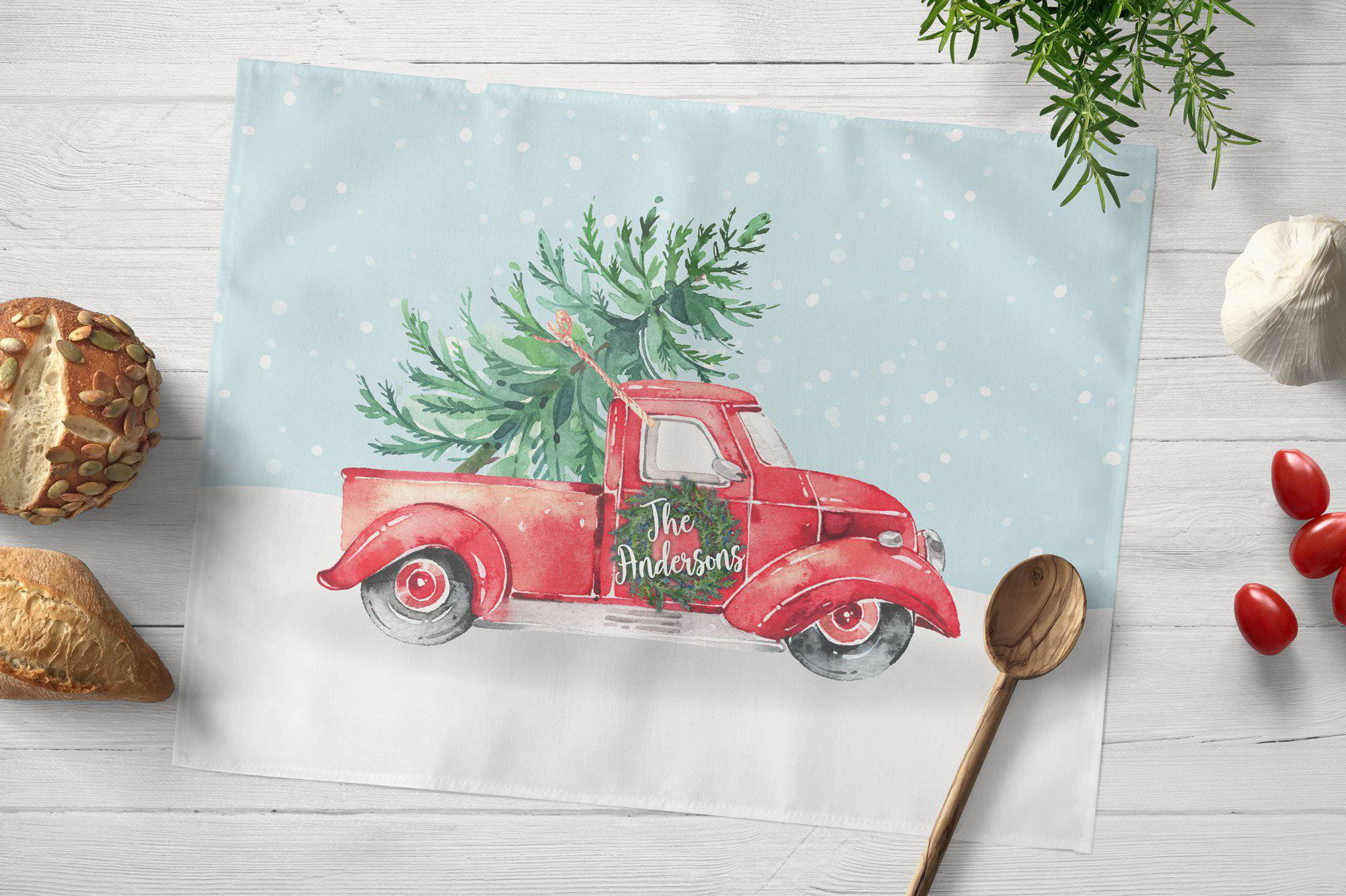 Red Truck Christmas Placemat - My Treasured Gifts Co