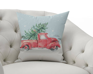 Red Holiday Vintage Truck Outdoor Pillowcase