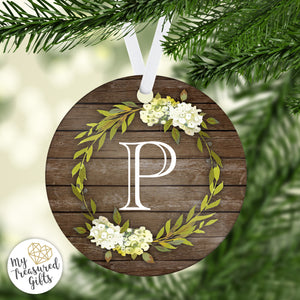 Rustic Monogram Wedding Ornament - My Treasured Gifts Co