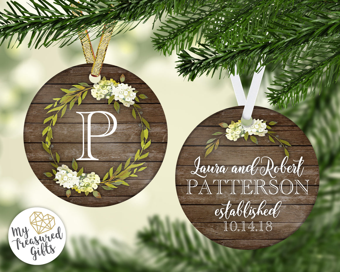 Rustic Monogram Wedding Ornament
