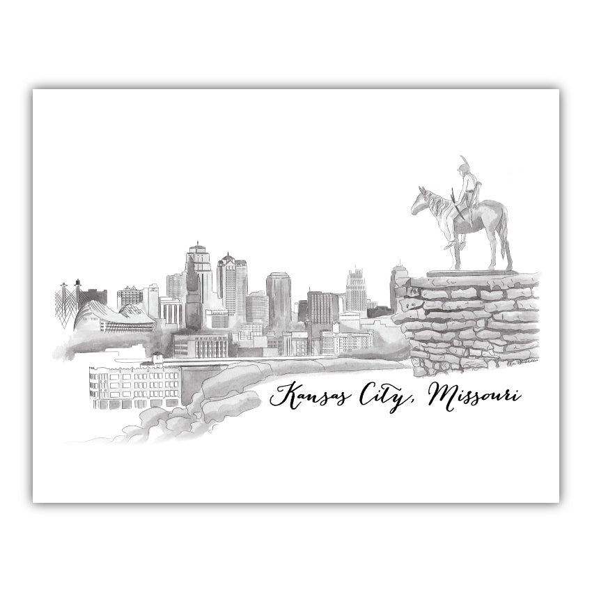 Scout with Kansas City Skyline Watercolor 15oz Mug
