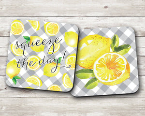 Lemon Blue Plaid Coaster Set